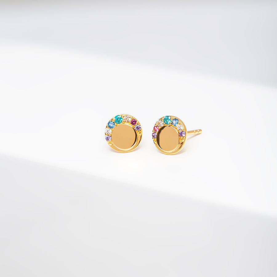 Earrings Portofino Piccolo with multicoloured zirconia - 18k gold plated