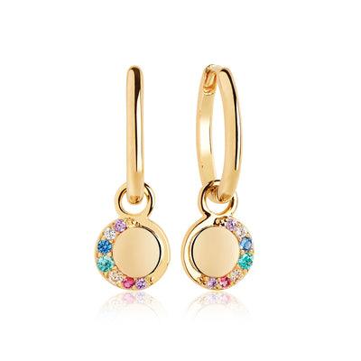 Earrings Portofino Lungo Earrings with multicoloured zirconia - 18k gold plated