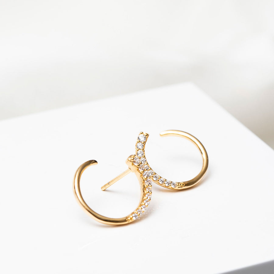 Earrings Portofino - 18k gold plated with white zirconia