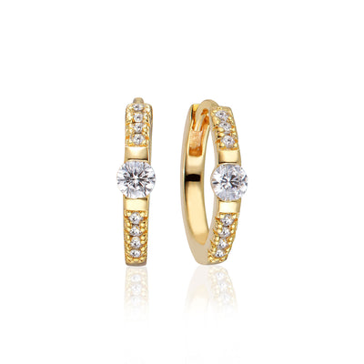 Earrings Ellera Uno Medio with white zirconia - 18k gold plated