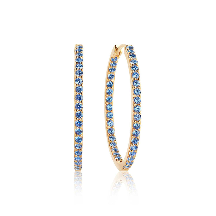 Earrings Bovalino - 18k gold plated with blue zirconia