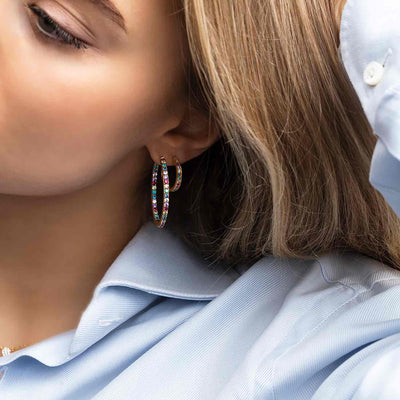 Earrings Bovalino - 18k gold plated with multicoloured zirconia - Sif Jakobs Jewellery