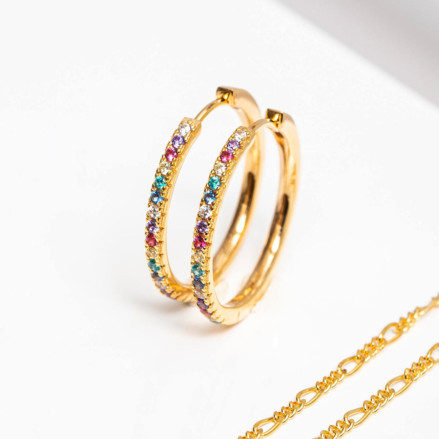 Earring Ellera X-Grande with Multicoloured zirconia - 18k gold plated