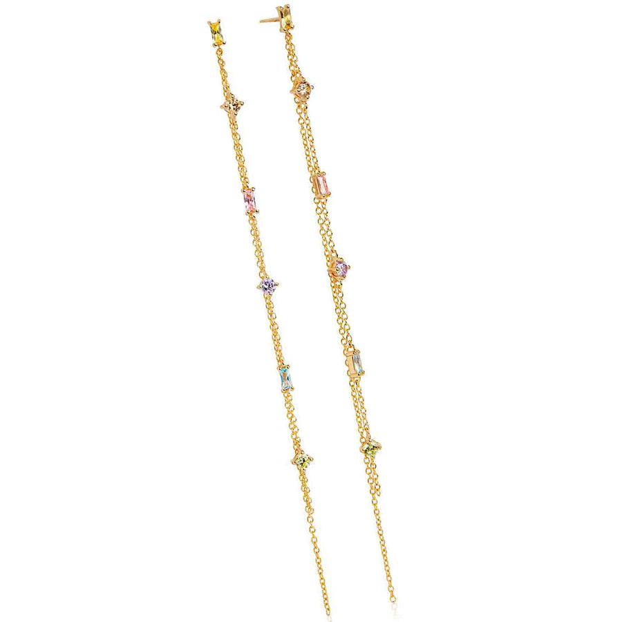 Earrings Princess double chain with Multicoloured zirconia - 18k gold plated