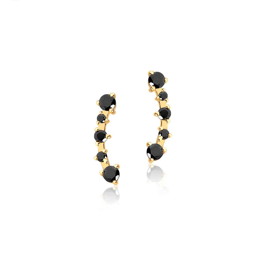 Earrings Princess with black zirconia - 18k gold plated