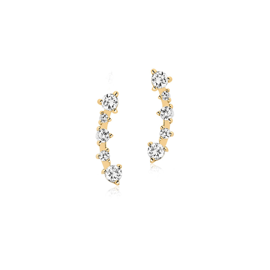 Earrings Princess with white zirconia - 18k gold plated