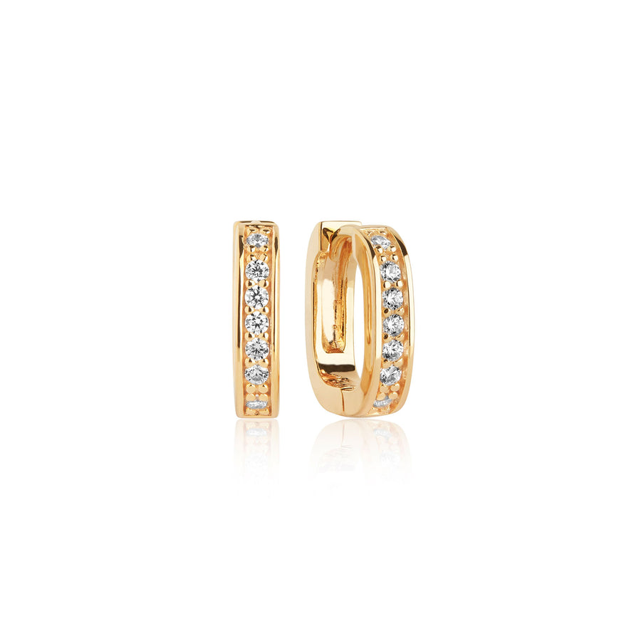 Earring Matera Piccolo with white zirconia - 18k gold plated