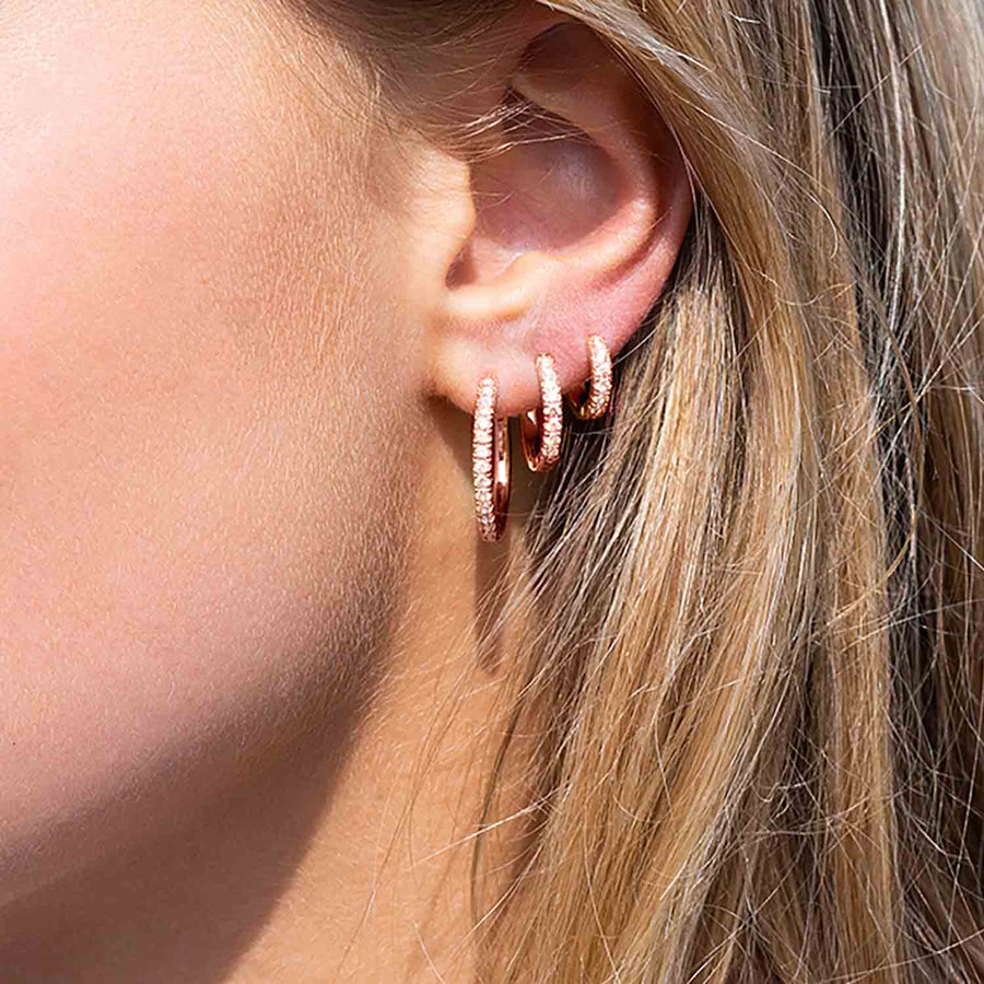 Earrings Ellera - 18k rose gold plated with white zirconia