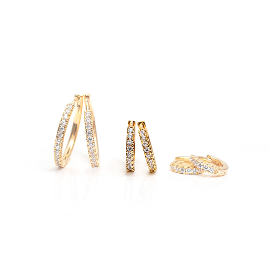 Earrings Ellera medio - 18k gold plated with white zirconia