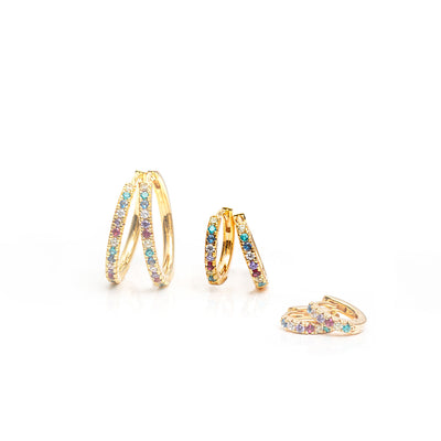 Earrings Ellera - 18k gold plated with multicoloured zirconia