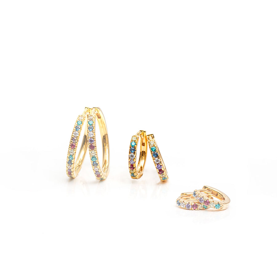 Earrings Ellera medio - 18k gold plated with multicoloured zirconia