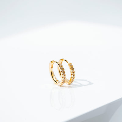 Earrings Ellera medio - 18k gold plated with yellow zirconia