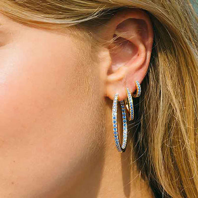 Earrings Ellera Grande - 18k gold plated with blue zirconia