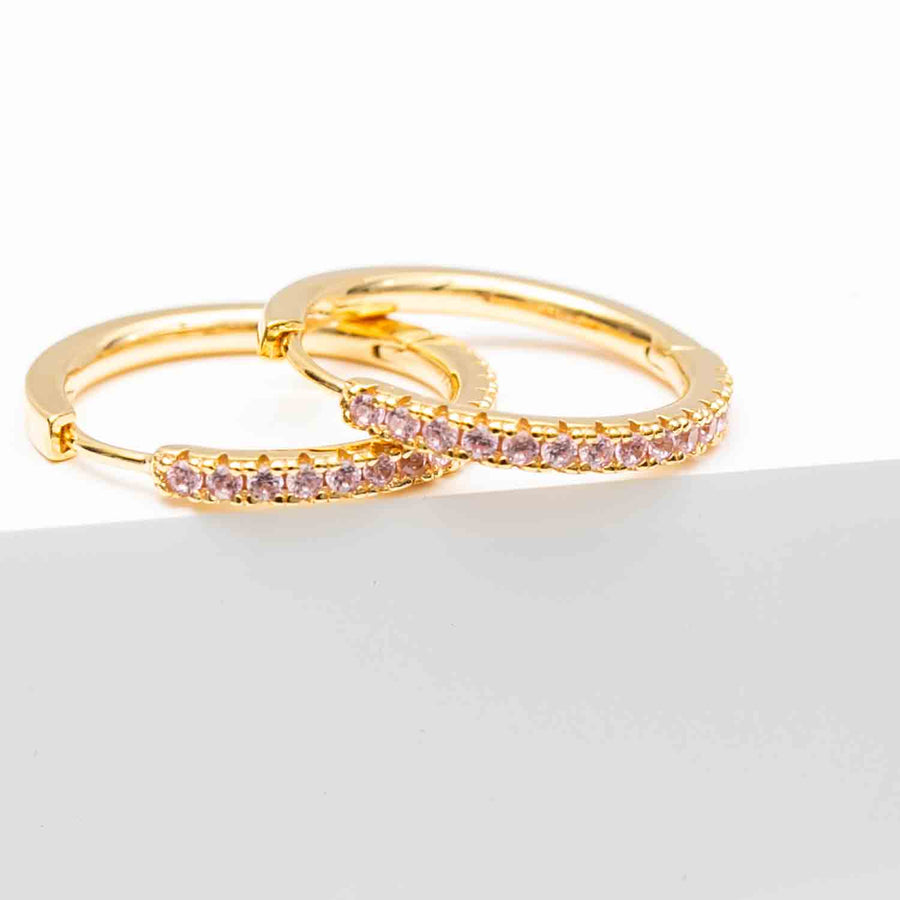 Earrings Ellera Grande - 18k gold plated with pink zirconia