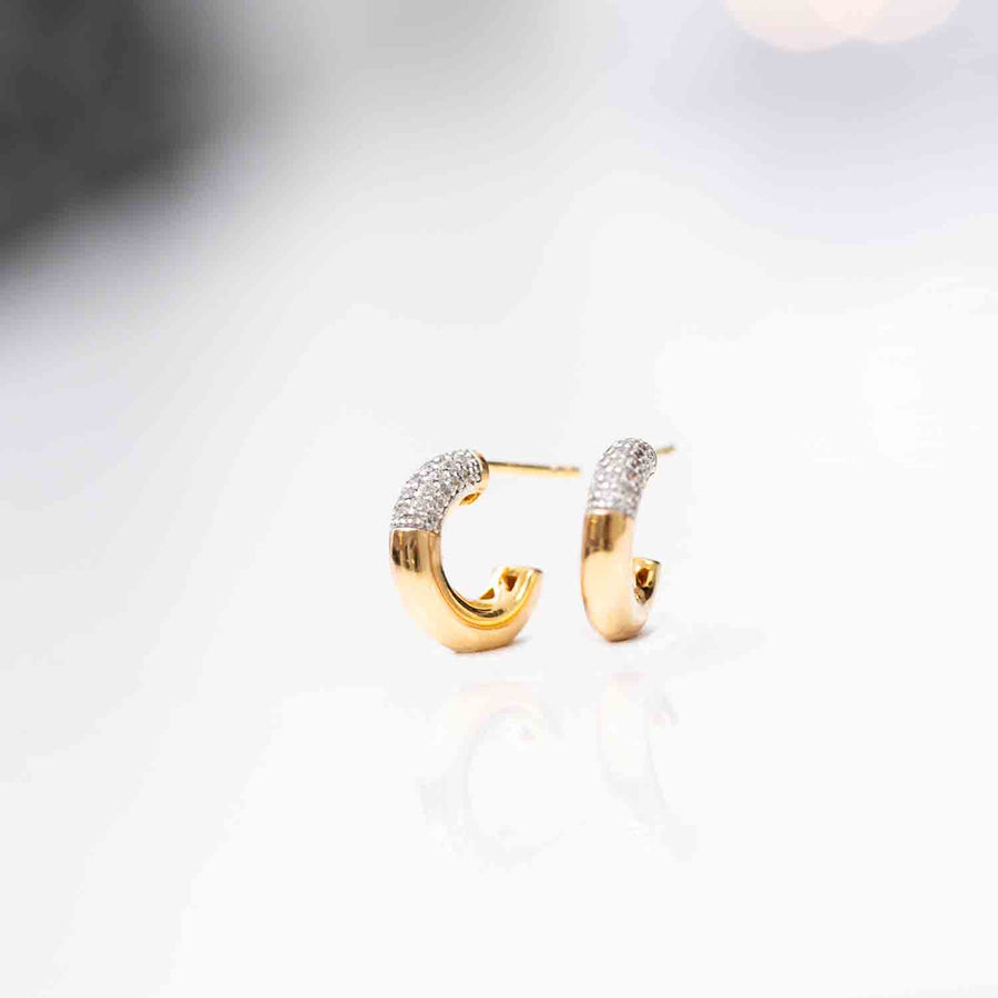 Earring Cannara Piccolo with white zirconia - 18k gold plated
