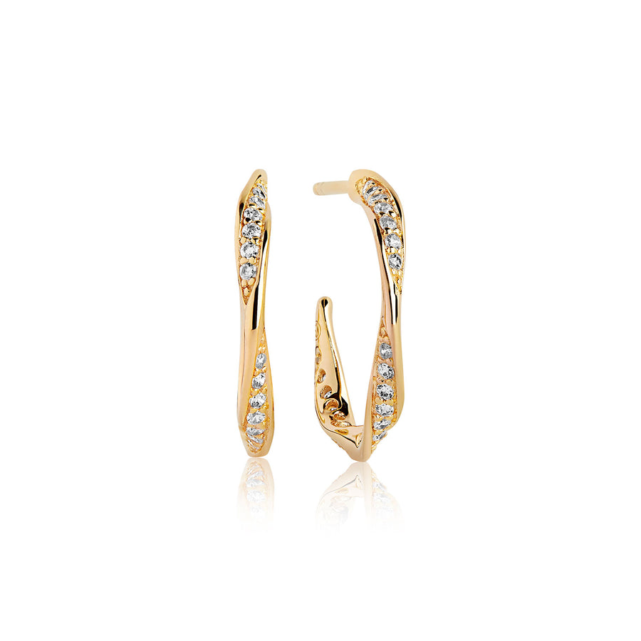 Earrings Cetara Piccolo with white zirconia - 18k gold plated