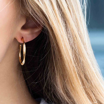 Earrings Cetara with white zirconia - 18k gold plated