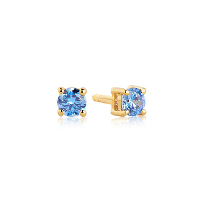 Earrings Princess Round - 18k gold plated with blue zirconia