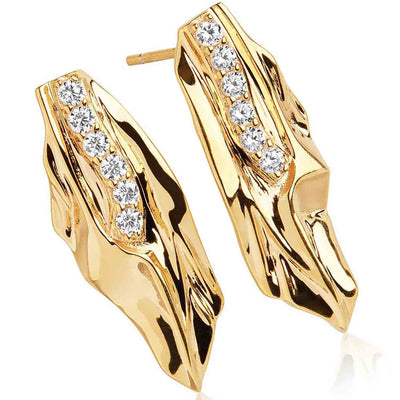 Earrings VULCANELLO - 18k gold plated with white zirconia