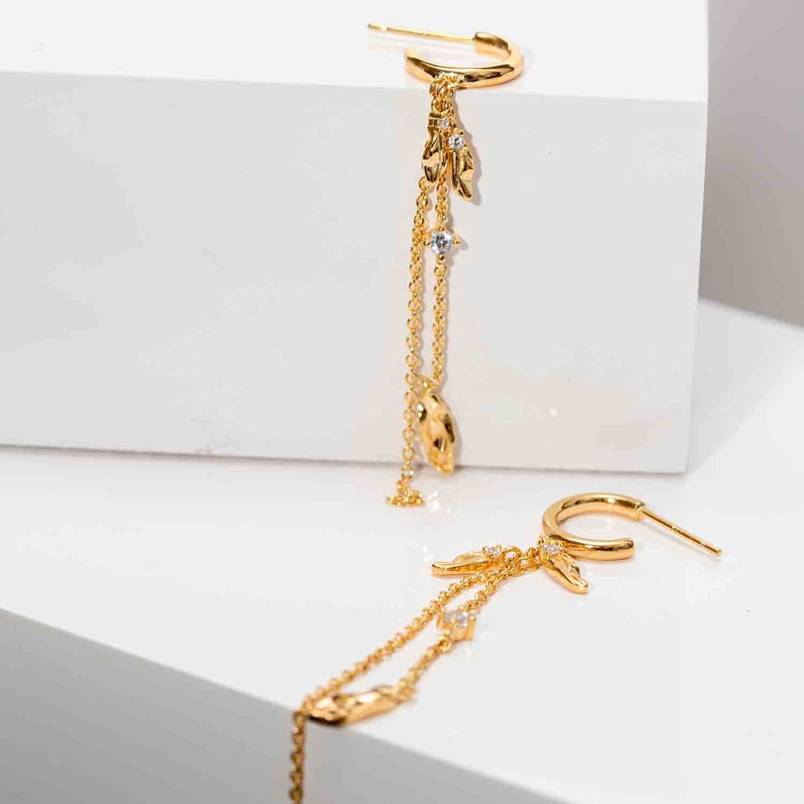 Earrings Vulcanello Double Chain - 18k gold plated with white zirconia