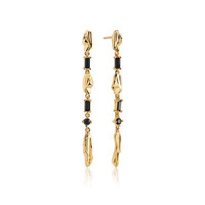 Earrings VULCANELLO Lungo - 18k gold plated with black zirconia