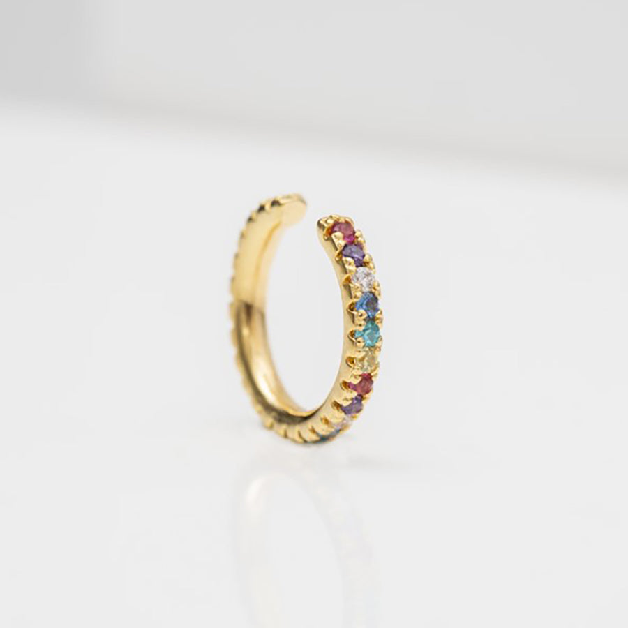 Ear cuff Ellera - 18k gold plated with multicoloured zirconia