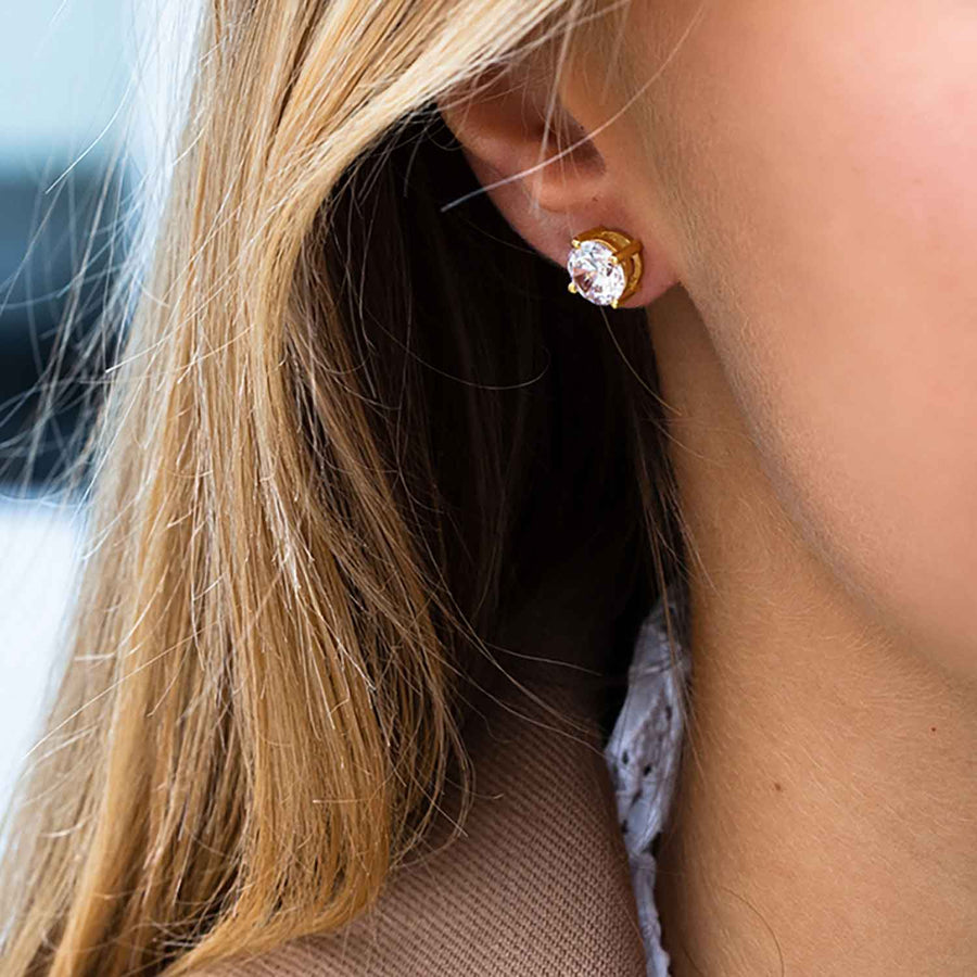 Earrings Princess Round - 18k gold plated with white zirconia