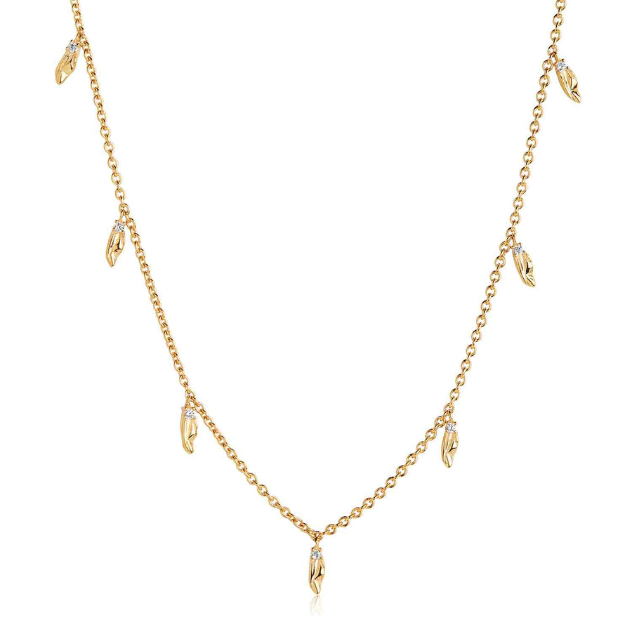 Pendant Vulcanello - 18k gold plated with white zirconia