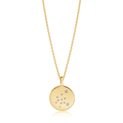 Pendant Zodiaco Aquarius - 18k gold plated with white zirconia