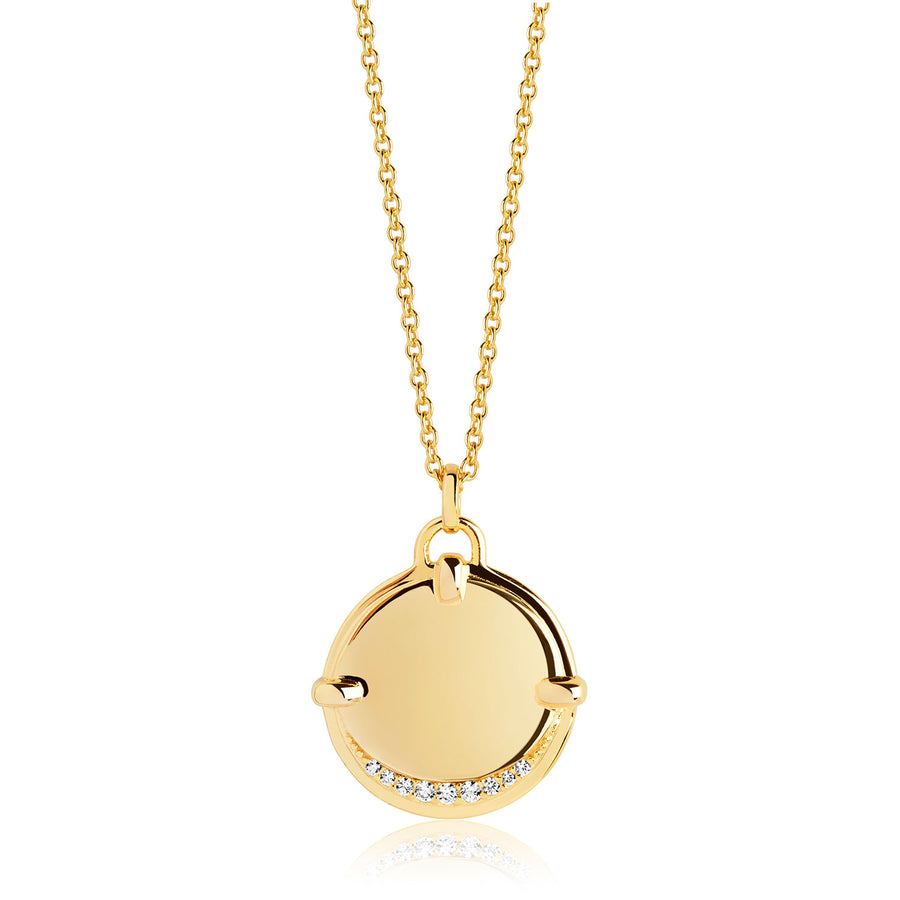 Pendant Portofino Grande - 18k gold plated with white zirconia - Sif Jakobs Jewellery