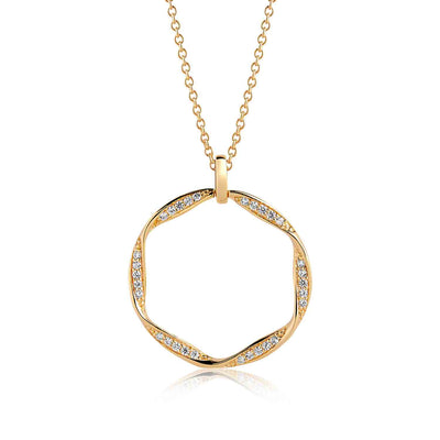 Pendant Cetara Grande - 18k gold plated with white zirconia - Sif Jakobs Jewellery