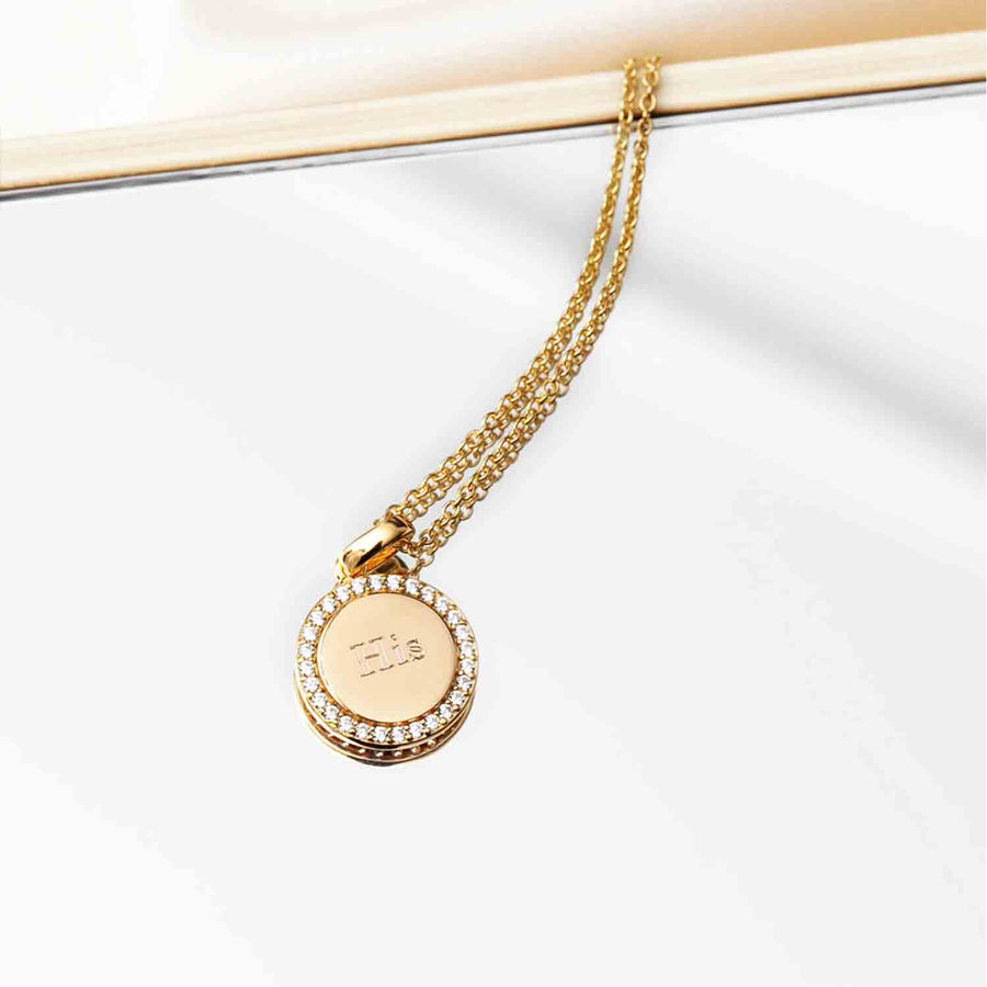 Pendant Follina - 18k gold plated with white zirconia
