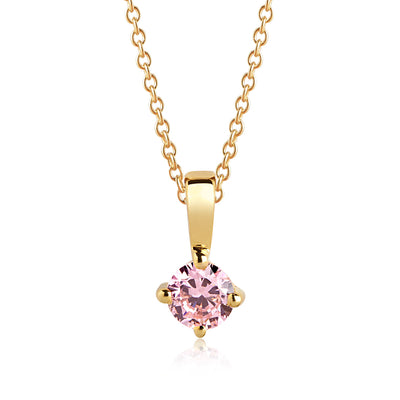 Pendant Princess Piccolo Round - 18k gold plated with pink zirconia
