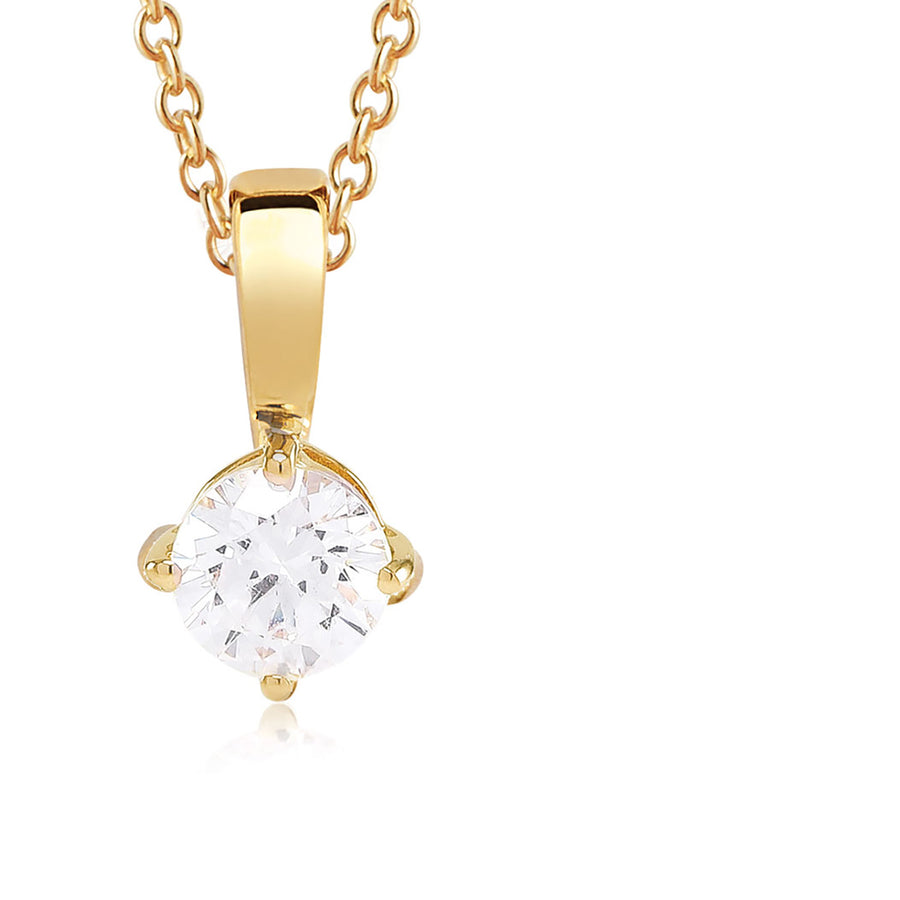 Pendant Princess Round - 18k gold plated with white zirconia