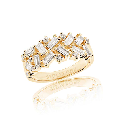 Ring Antella - 18k gold plated with white zirconia