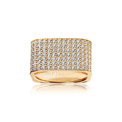 Ring Matera Grande - 18k gold plated with white zirconia (50)