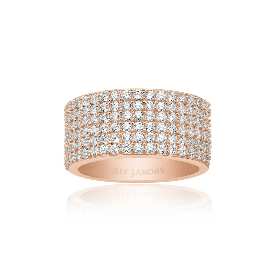 Ring Corte Cinque - 18k rose gold plated with white zirconia