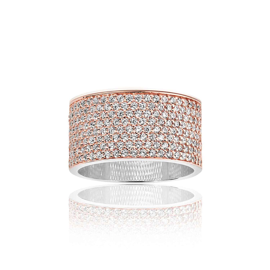 Ring Felline Grande - 18k rose gold plated with white zirconia