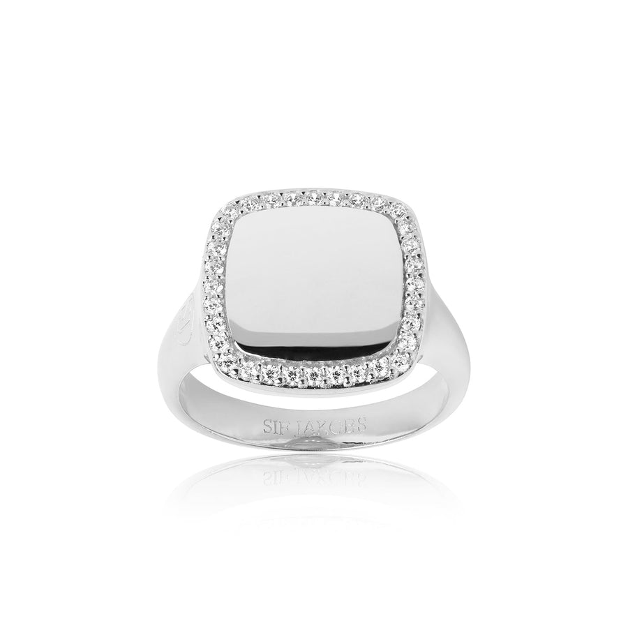 Ring Follina Quadrato with white zirconia