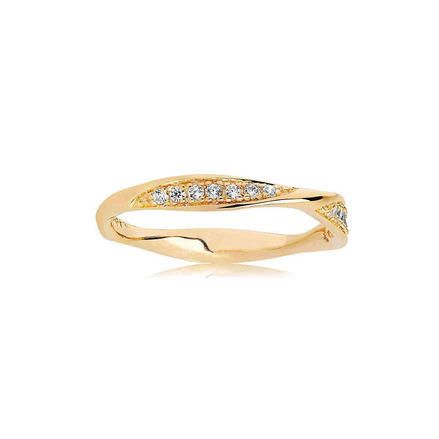 Ring Cetara - 18k gold plated with white zirconia