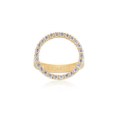 Ring Biella Grande - 18k gold plated with white zirconia