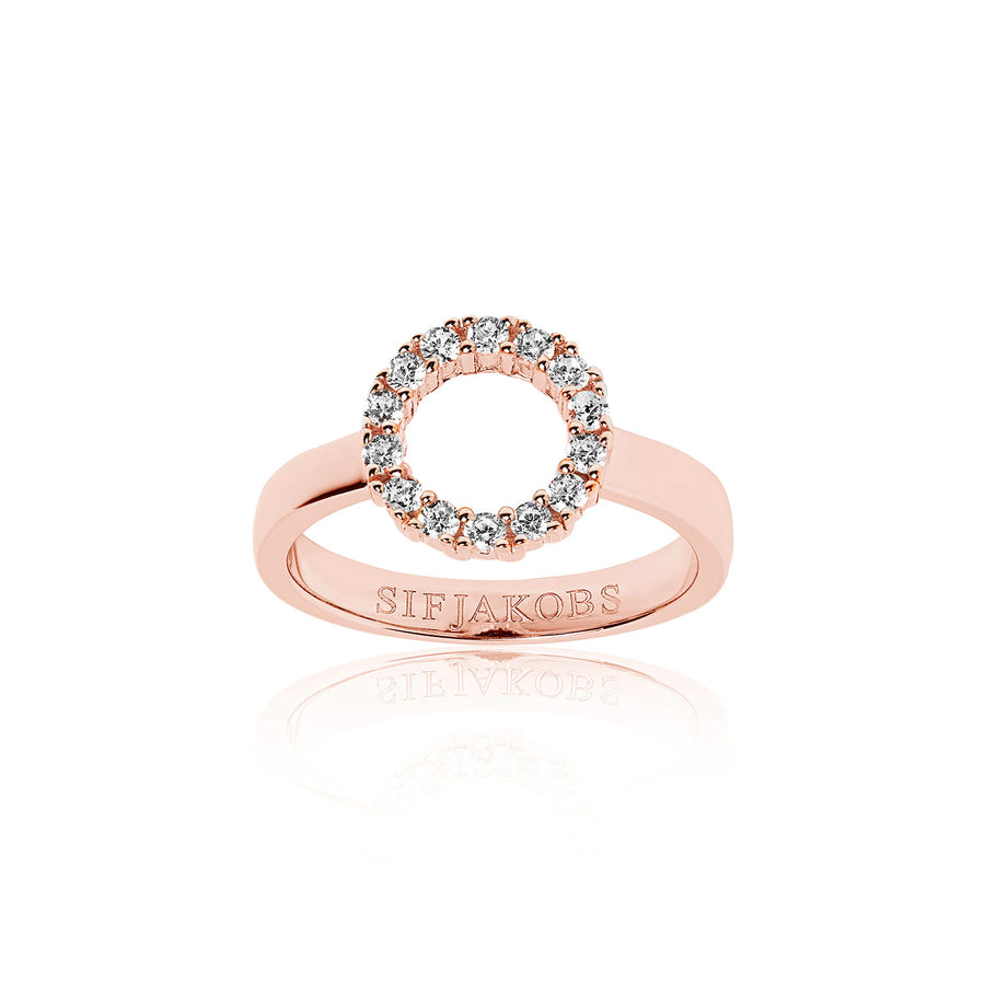 Ring Biella Piccolo - 18k rose gold plated with white zirconia