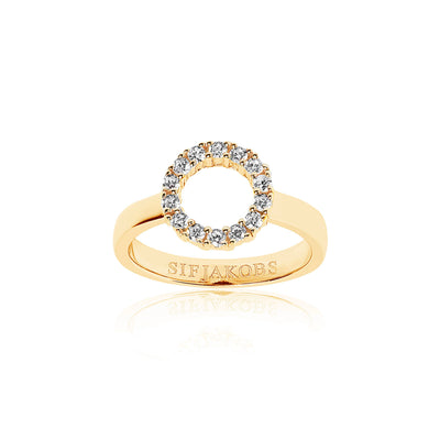 Ring Biella Piccolo - 18k gold plated with white zirconia
