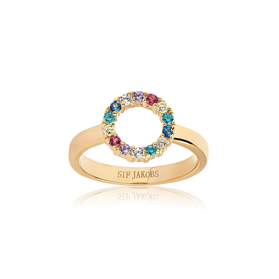 Ring Biella Piccolo - 18k gold plated with multicoloured zirconia