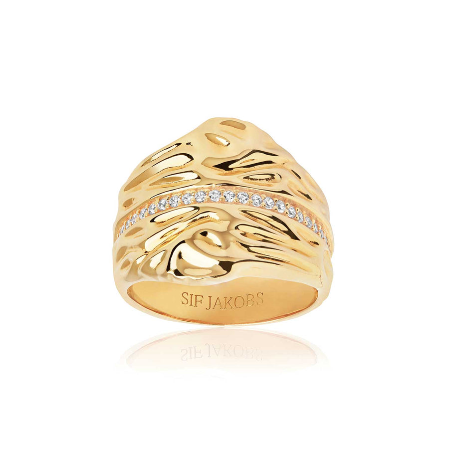 Ring Vulcanello Grande - 18k gold plated with white zirconia