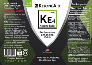 3x Small Bottles KetoneAid KE4 Ketone Ester (up to 18 days at $5 a day)