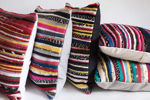 Multicolor Striped Hand loomed Pillows
