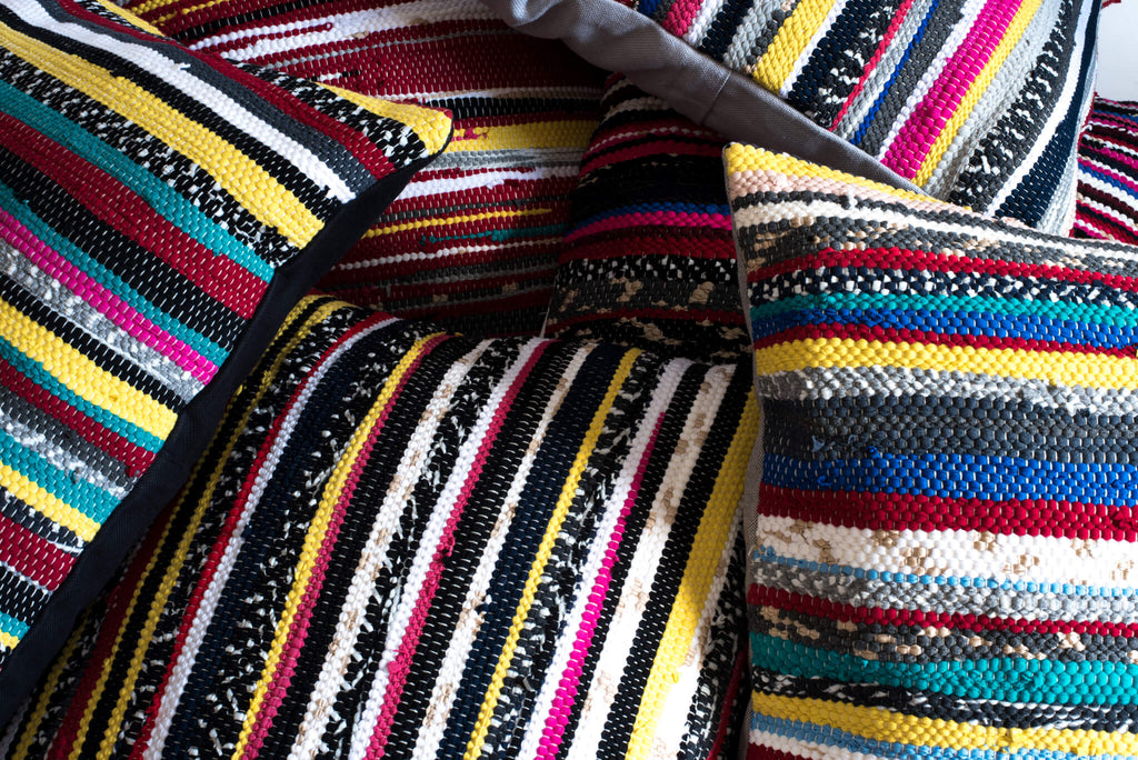 Multicolor Striped Textured Hand loomed Pillows