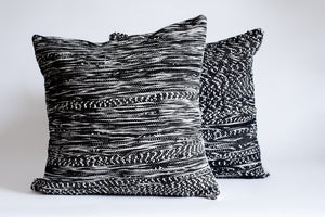 black and white textured throw pillows