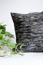 Load image into Gallery viewer, Black and White textured boho pillow